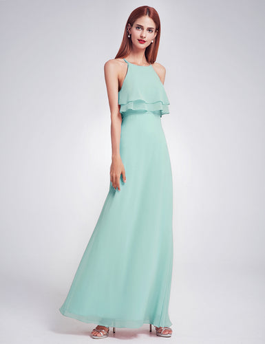 Jennifer mint peppermint green  frill keyhole long bridesmaid wedding bridal prom cruise evening dress uk