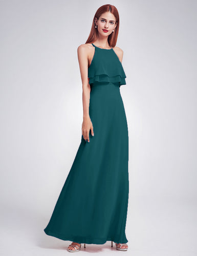 Jennifer teal green frill keyhole long bridesmaid wedding bridal prom cruise evening dress uk