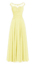 Jessica Beau Melanie Lemon Yellow  Lace Chiffon Pleated Long Bridesmaid Wedding Bridal Prom Evening Dress UK