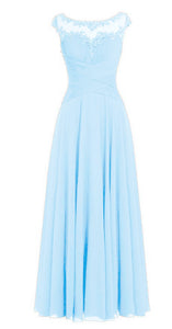Jessica pale light baby blue Chiffon Lace Long Bridesmaid Wedding Prom Evening Formal Maxi Occasion Dress UK