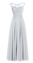 Silver Grey Chiffon Lace Long Bridesmaid Wedding Prom Evening Formal Maxi Occasion Dress UK