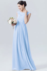 Joanna pale light blue chiffon lace long bridesmaid wedding bridal dress loulous bridal boutique ltd uk