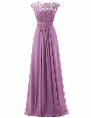 Kelis Lavender lace chiffon long bridesmaid wedding bridal prom evening dress UK Loulous Bridal Boutique