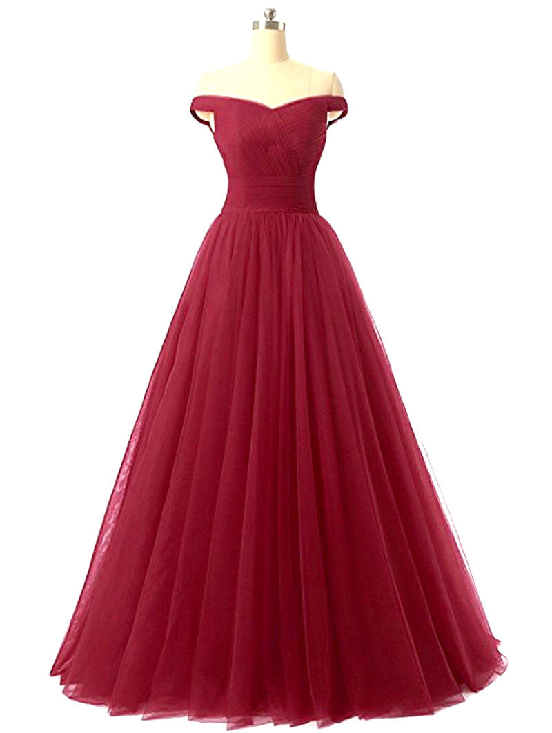 Lauren Burgundy Berry Wine Off shoulder long evening ballgown bridesmaid wedding prom dress uk