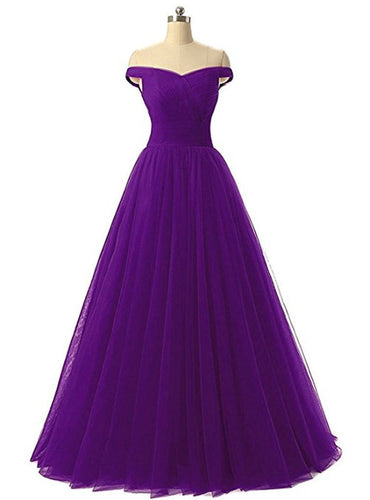 Lauren Cadbury Purple Off Shoulder long bridesmaid evening ballgown tulle prom dress loulous bridal boutique uk