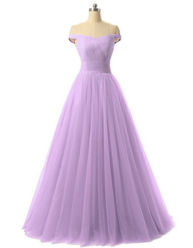 Lauren Lilac Lavender on off shoulder chiffon tulle net long bridesmaid wedding evening prom dress Loulous Bridal Boutique ltd UK Online