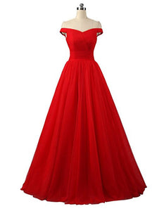 Lauren Red Scarlot Off Shoulder Long Bridesmaid Ballgown Wedding Evening Prom Dress Loulous Bridal Boutique