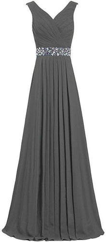 Leah dark charcoal steel grey grecian crystal beaded long bridesmaid wedding bridal evening ballgown prom dress uk Loulous Bridal Boutique