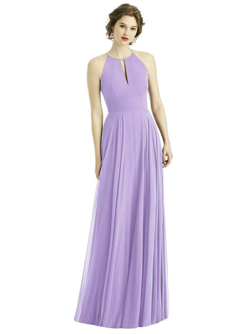 Lilac Mauve Lavender  long halter neck bridesmaid evening prom wedding bridal dress Loulous Bridal Boutique Ltd UK
