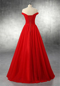 Lauren Red chiffon tulle on off shoulder long bridesmaid wedding prom evening dress UK online Loulous Bridal Boutique Ltd