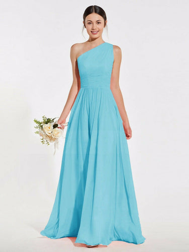 Lindsey Aqua Spa blue turquoise one shoulder long maxi bridesmaid grecian wedding bridal prom evening dress loulous bridal boutique