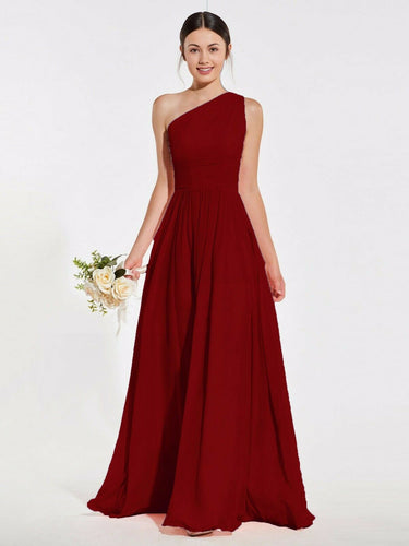 Lindsey berry burgundy wine maroon one shoulder long maxi bridesmaid grecian wedding bridal prom evening dress loulous bridal boutique