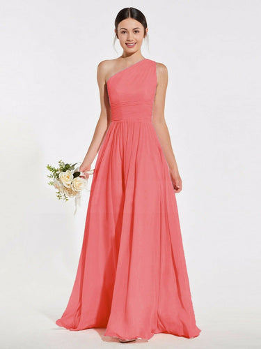 Lindsey coral orange one shoulder long maxi bridesmaid grecian wedding bridal prom evening dress loulous bridal boutique