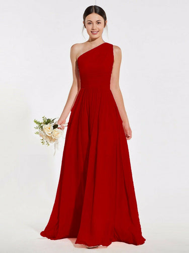Lindsey Red Scarlet Crimson one shoulder long maxi bridesmaid grecian wedding bridal prom evening dress loulous bridal boutique