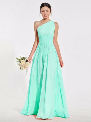 Lindsey pale light mint green one shoulder long maxi bridesmaid grecian wedding bridal prom evening dress loulous bridal boutique