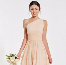 Lindsey peach blush one shoulder long maxi bridesmaid grecian wedding bridal prom evening dress loulous bridal boutique