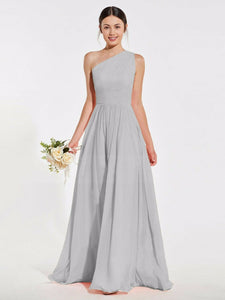 Lindsey silver grey  one shoulder long maxi bridesmaid grecian wedding bridal prom evening dress loulous bridal boutique