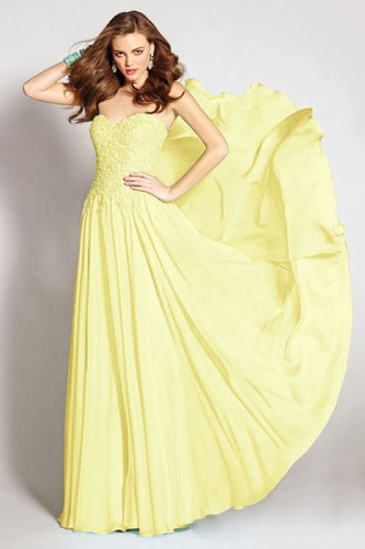 Lizzie Lemon Yellow lace chiffon strapless bridesmaid wedding bridal prom evening ballgown dress uk