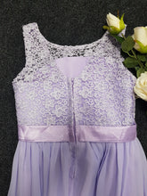 Heidi lilac lace chiffon bridesmaid junior flower girl dress loulous bridal boutique ltd uk