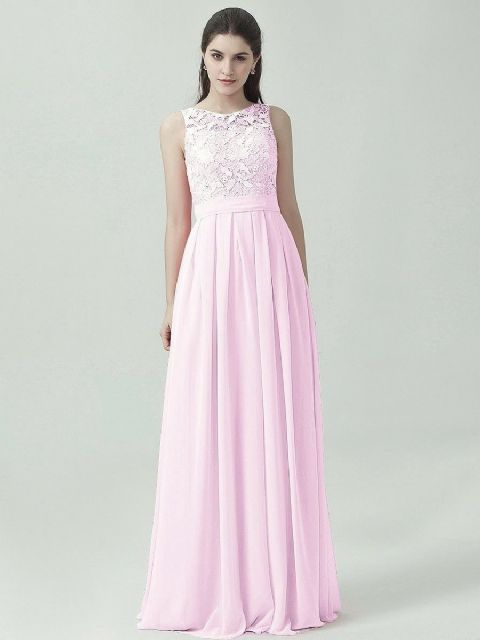Lydia pale light pink lace bridesmaid wedding prom cruise evening ballgown dress loulous bridal boutique ltd