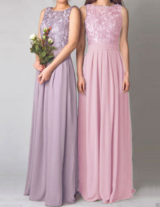 Lydia dusky blush pink lace chiffon sleeveless bridesmaid wedding bridal prom evening ballgown dress uk cream