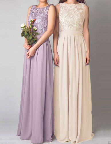 Lydia champagne lace chiffon sleeveless bridesmaid wedding bridal prom evening ballgown dress uk cream