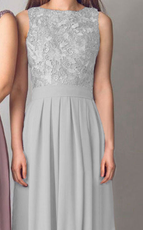 Lydia silver grey lace bridesmaid wedding prom cruise evening ballgown dress loulous bridal boutique ltd