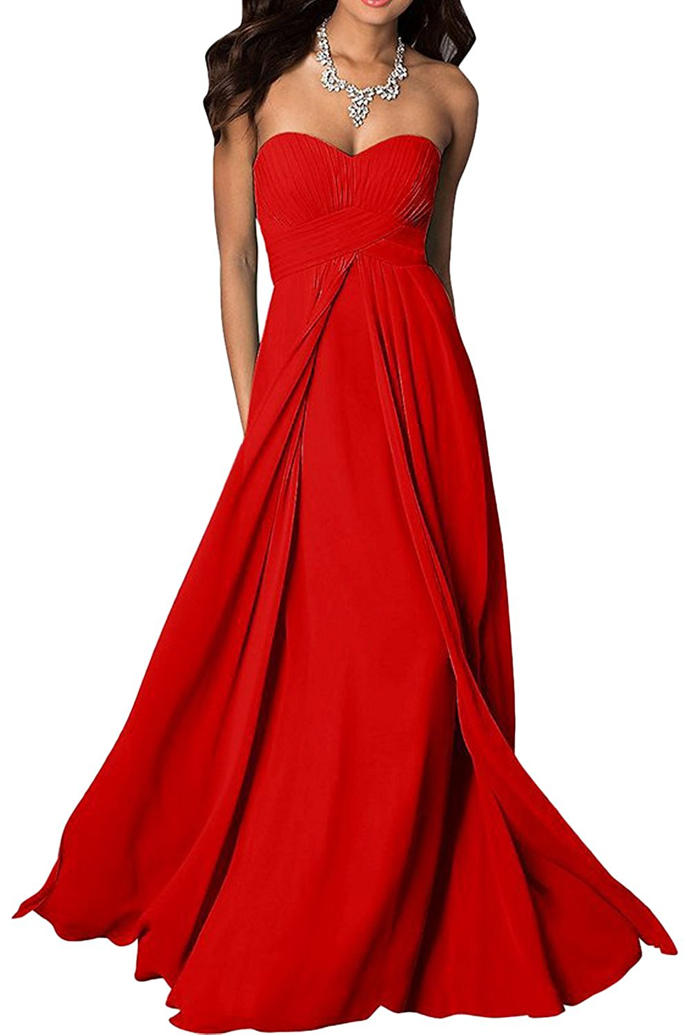 madison red scarlet crimson chiffon strapless long maxi bridesmaid wedding bride bridal prom ballgown evening formal occasion dress uk