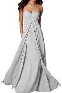 madison silver grey chiffon strapless long maxi bridesmaid wedding bride bridal prom ballgown evening formal occasion dress uk