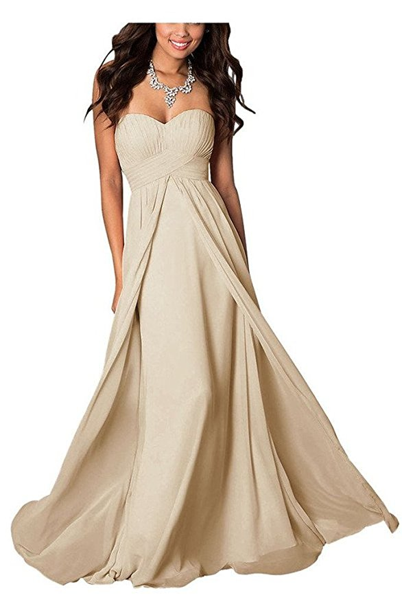 madison champagne cream chiffon strapless long maxi bridesmaid wedding bride bridal prom ballgown evening formal occasion dress uk
