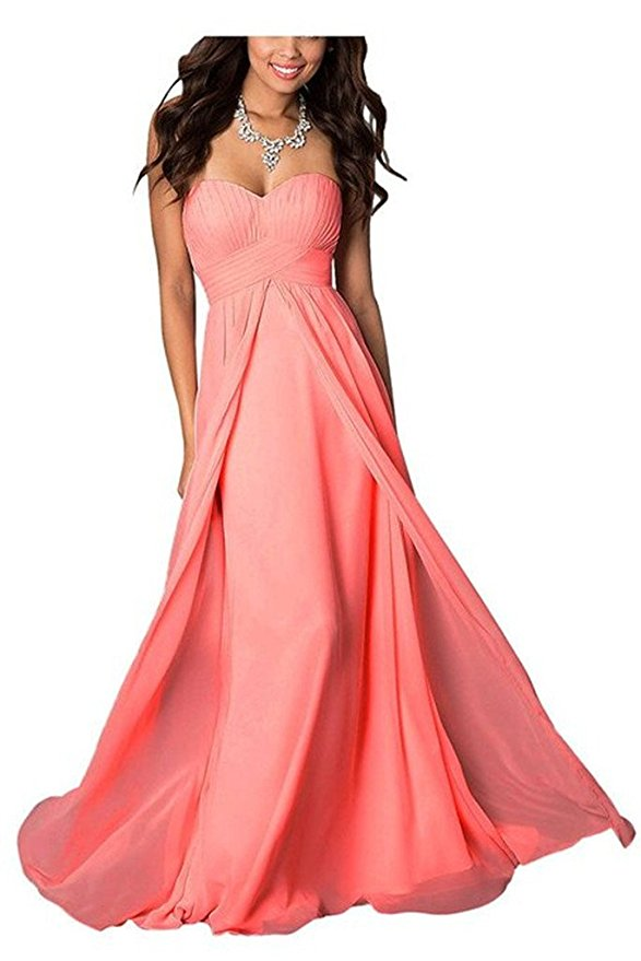 madison coral orange chiffon strapless long maxi bridesmaid wedding bride bridal prom ballgown evening formal occasion dress uk