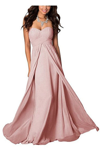 madison blush dusky rose pink chiffon strapless long maxi bridesmaid wedding bride bridal prom ballgown evening formal occasion dress uk
