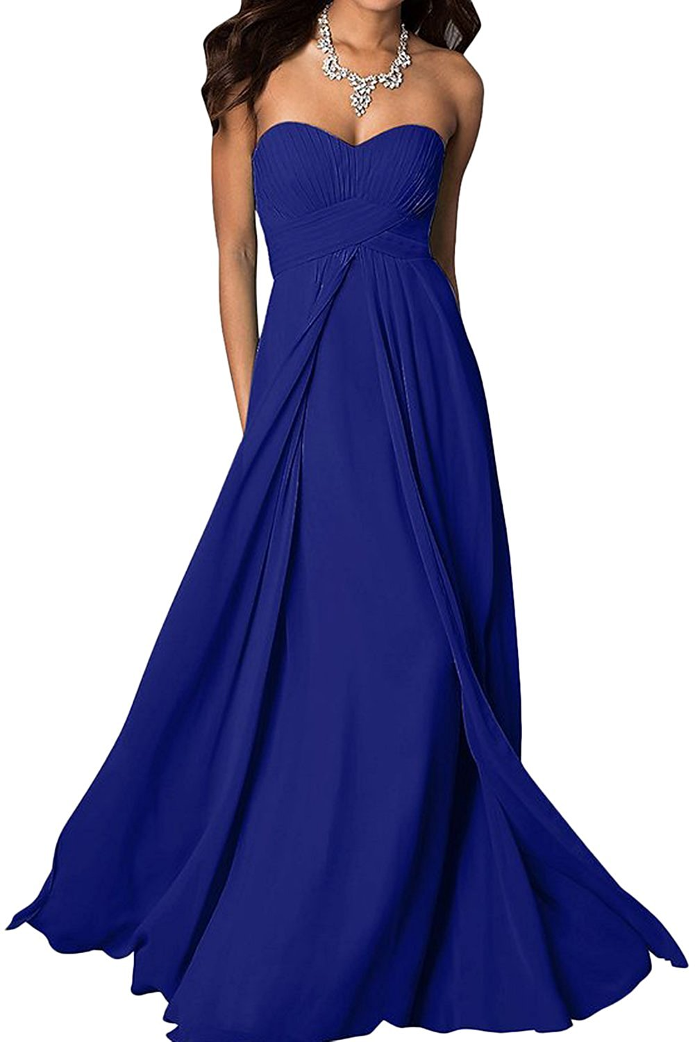 madison royal sapphire cobalt blue chiffon strapless long maxi bridesmaid wedding bride bridal prom ballgown evening formal occasion dress uk