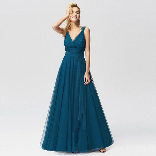 Maia Teal Blue Tulle chiffon Sleeveless V Neck Long Bridesmaid Evening Dress Tulle Chiffon Loulous Bridal Boutique UK