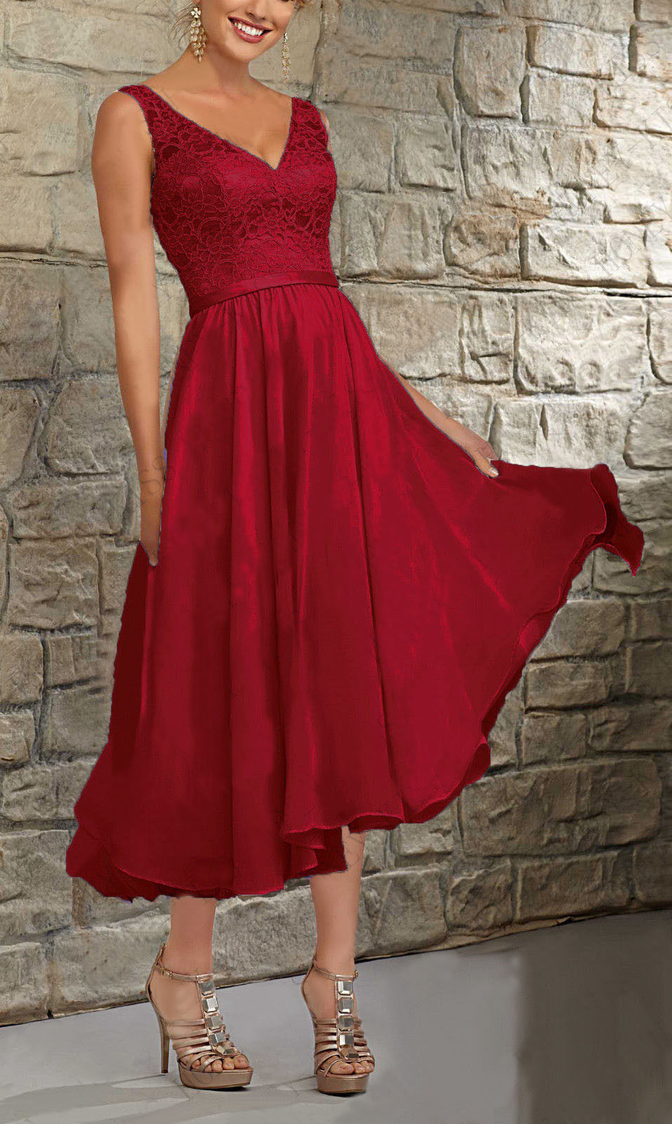 Margot Berry Burgundy Short V Neck Mother of the Bride Bridesmaid Wedding Bridal Dress UK