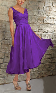 Margot Cadbury Purple Short V Neck Mother of the Bride Bridesmaid Wedding Bridal Dress UK