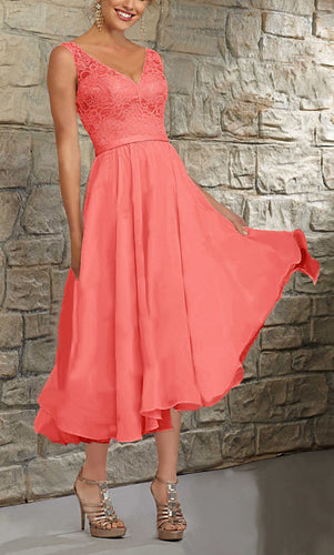 Margot Coral Orange Short V Neck Mother of the Bride Bridesmaid Wedding Bridal Dress UK