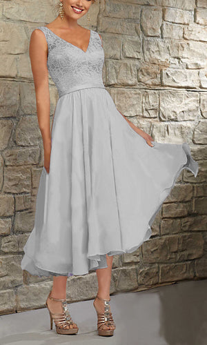 Margot silver grey Short V Neck Mother of the Bride Bridesmaid Wedding Bridal Dress UK