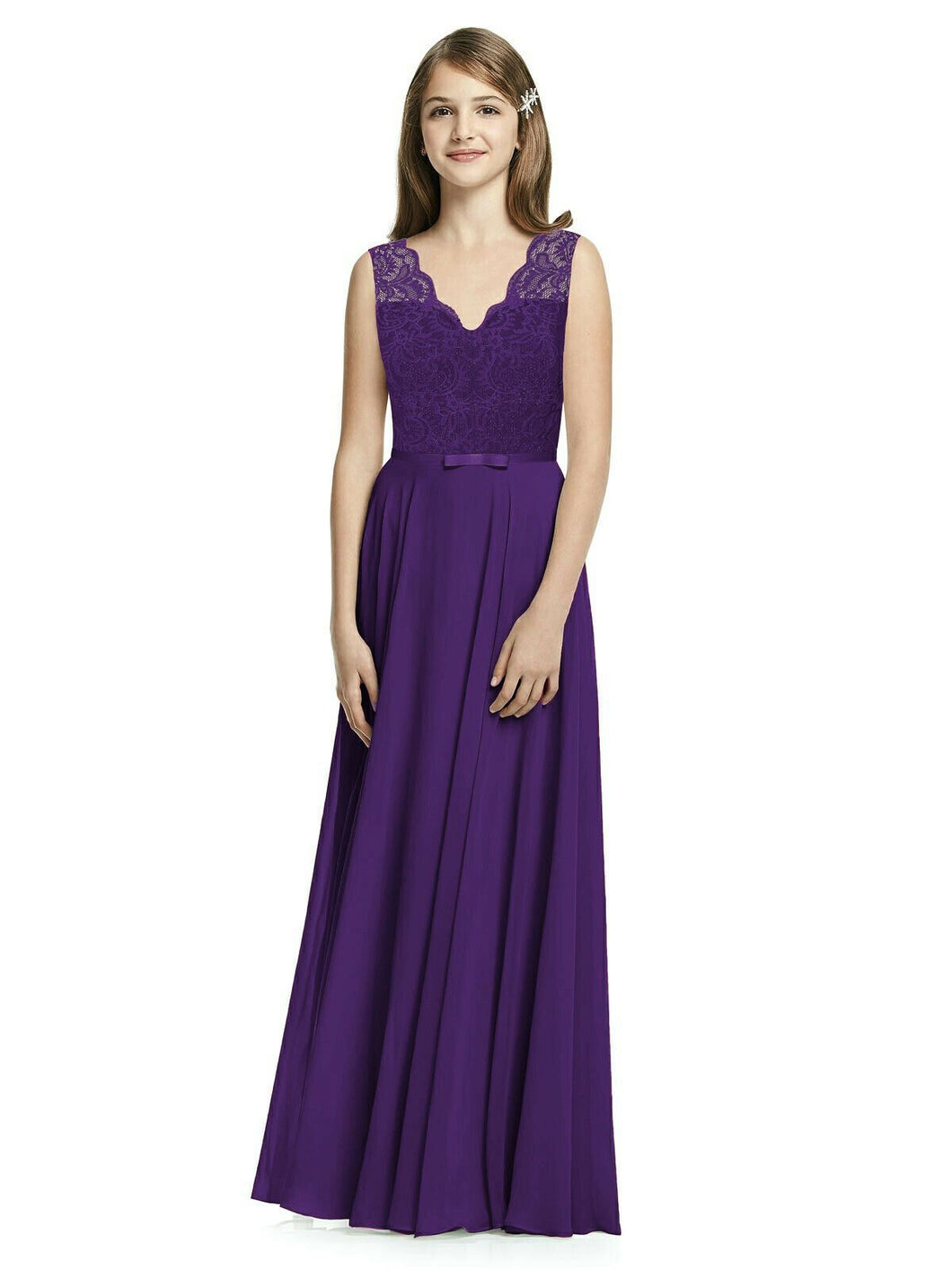 Cadbury Purple meghan lace chiffon vneck junior flower girl bridesmaid dress loulous bridal boutique ltd