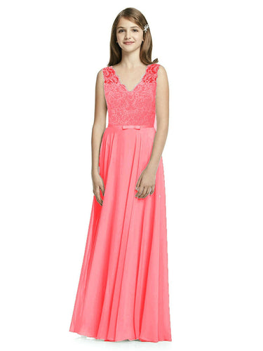 Coral Orange  meghan lace chiffon vneck junior flower girl bridesmaid dress loulous bridal boutique ltd