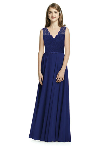 Sammy Dark Navy Midnight Blue flower girl junior long chiffon lace  bridesmaid wedding bridal evening dress uk loulous bridal boutique