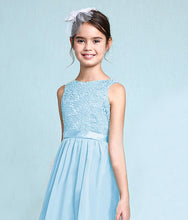 Melody Pastel pale light baby Blue lace chiffon long sleeveless junior bridesmaid flowergirl dress loulous bridal boutique uk