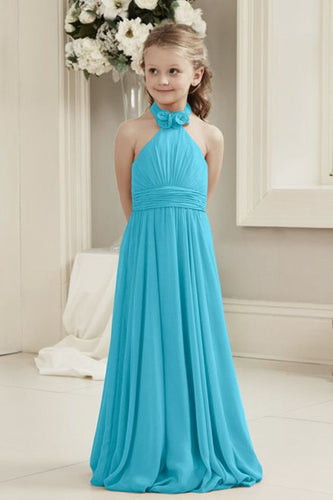 Mia aqua spa turquoise blue halter neck junior bridesmaid flower girl dress uk loulous bridal boutique ltd