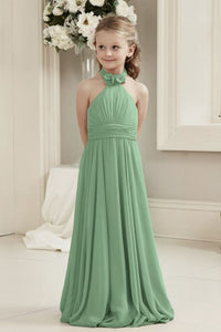 Mia sage bamboo green halter neck junior bridesmaid flower girl dress uk loulous bridal boutique ltd
