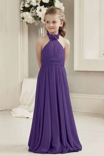 Mia cadbury purple halter neck long chiffon flower girl junior bridesmaid dresses custom made bespoke loulous bridal boutique ltd uk