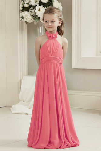 Mia coral halter neck long chiffon flower girl junior bridesmaid dresses custom made bespoke loulous bridal boutique ltd uk