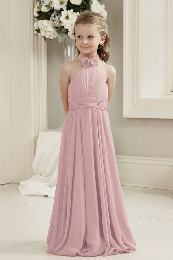 Mia dusky dusty blush pink halter neck junior bridesmaid flower girl dress uk loulous bridal boutique ltd