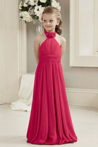 Mia fuchsia cerise hot pink halter neck junior bridesmaid flower girl dress uk loulous bridal boutique ltd