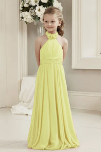 Mia lemon yellow halter neck junior bridesmaid flower girl dress uk loulous bridal boutique ltd