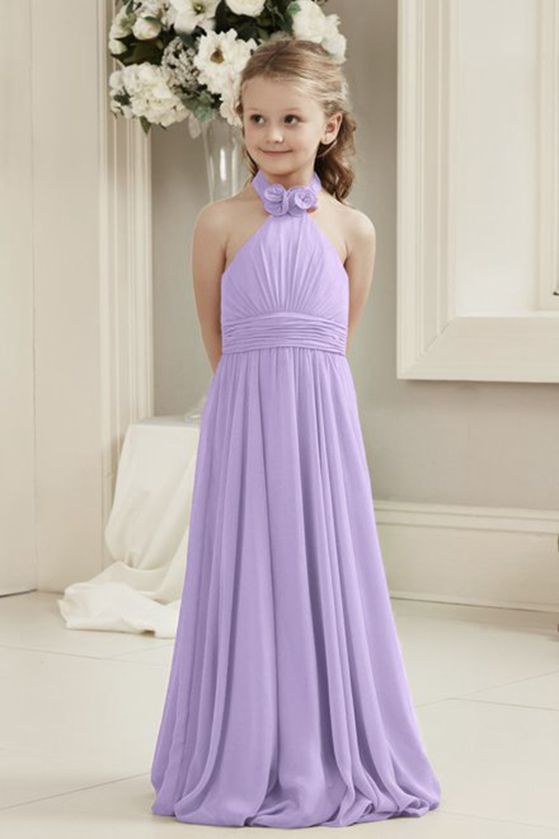 Mia lilac mauve purple halter neck junior bridesmaid flower girl dress uk loulous bridal boutique ltd